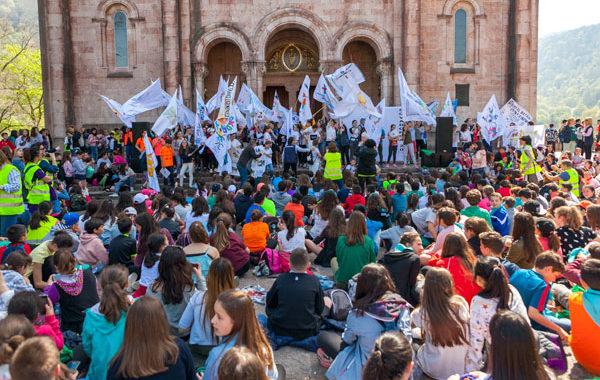 Los escolares asturianos, en Covadonga